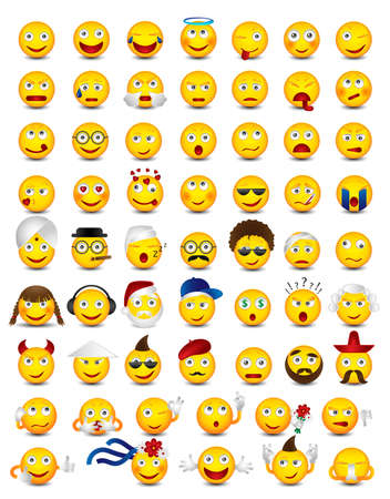 Emoticons. Big set on white background. Emoji vector illustration