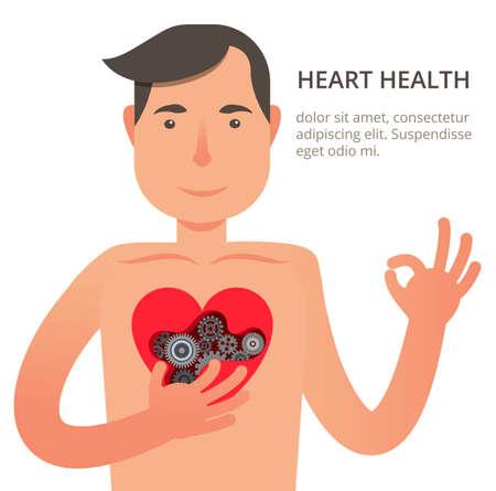donacion de organos: Ilustración vectorial en estilo moderno plana con el paciente satisfecho de cardiología. Concepto de atención de salud. Hombre sano con corazón fuerte. Se puede utilizar para banners web e información gráfica.