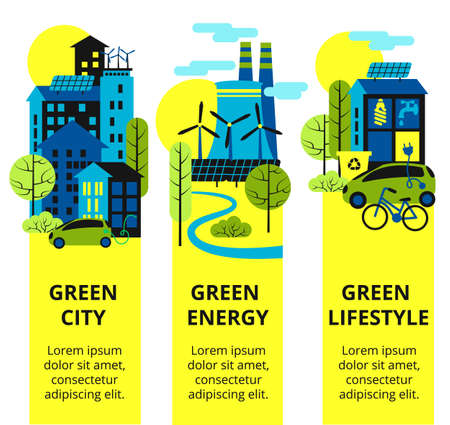Green city set. Environmental protection, ecology concept vertical banners set. Vector illustration. Eco-city, green energy, lif