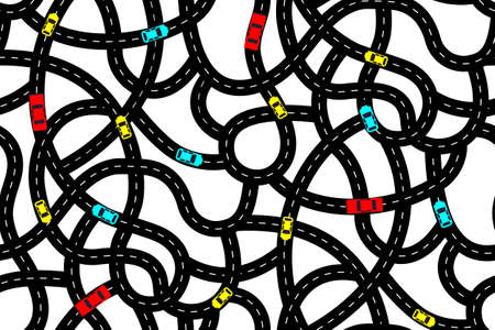 Seamless pattern in the form of intertwining roads with cars. Vector illustration with twisted roads, cars and trucks on a white background