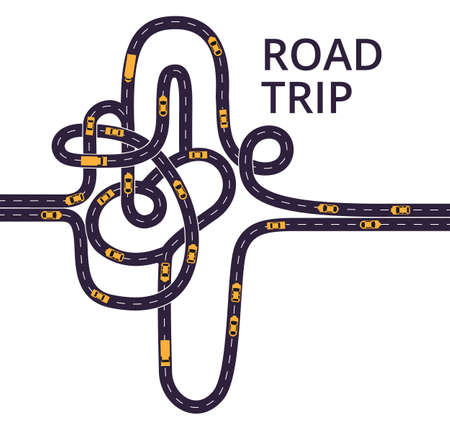 Tangled roads with cars and trucks on the white background. Curvy asphalt roads, with lanes separated with middle white dashed line. Illustration