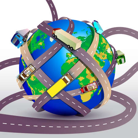 Vector illustration. Planet Earth braided many roads with trucks. Transportation concept for web banners and infographics