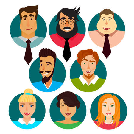 Avatars set of business men and women in a sircle. Vector illustration. Cartoon character set for web.