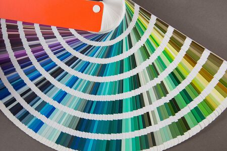 multicolored strips of paper spread out in a fan