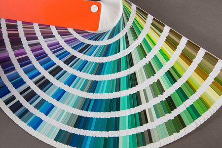 multicolored strips of paper spread out in a fan
