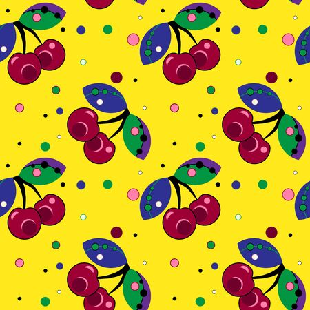 seamless pattern, cherries with peas on a yellow background Иллюстрация