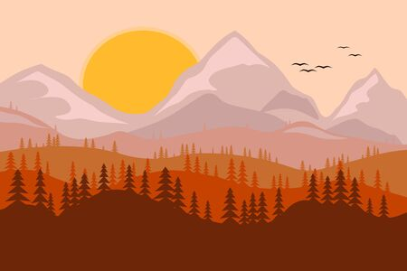 landscape, mountains with coniferous trees, the sun and birds in the sky