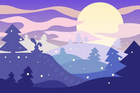 winter Christmas landscape with moon, snow with Christmas trees and a hare