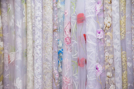 textile curtains for Windows in the range, many samples in the store