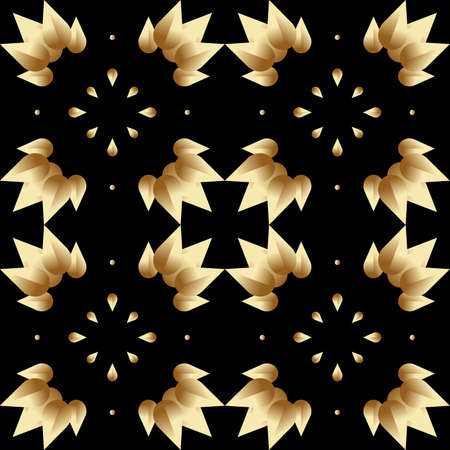 seamless pattern with stylized gradient gold leaves on a black background Vettoriali