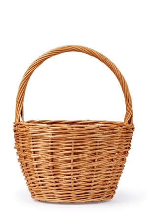 wicker basket for berries made of willow twigs, isolate on a white background