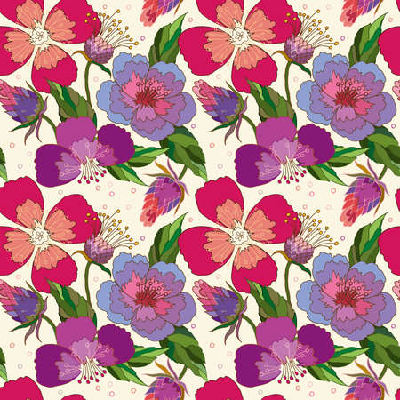 seamless pattern of poppy and Thistle flowers on a beige background Ilustracje wektorowe