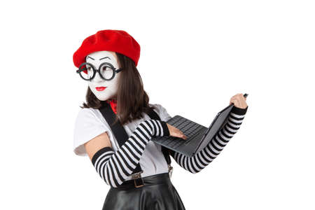 teenage girls in the image of mimes with makeup on their faces, isolate on a white background 版權商用圖片