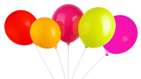 colored balloons on sticks, isolate on a white background