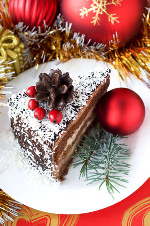 Christmas composition with cake photo