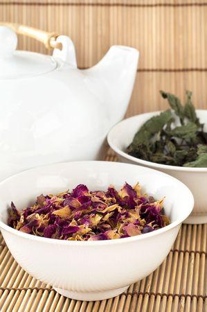 Rose&mint dry tea Stock Photo