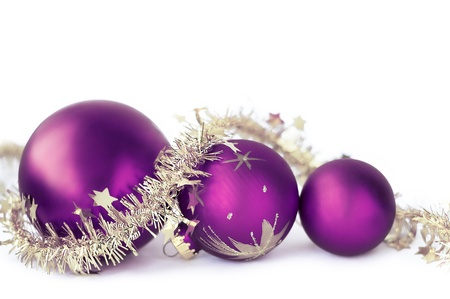 Christmas baubles on the white Stock Photo