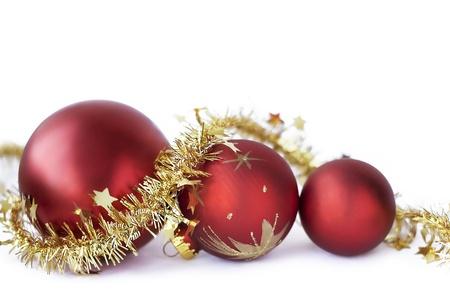 Christmas baubles on the white Foto de archivo