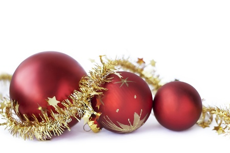 Christmas baubles on the white photo