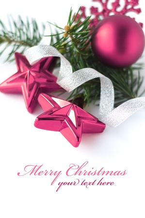 Xmas purple decoration with space for text photo