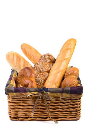 Fresh bread in the basket isolated with space text