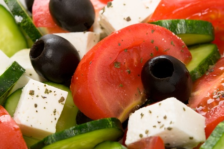 close up food: Griekse salade
