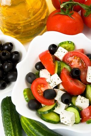 Greek salad and ingredients