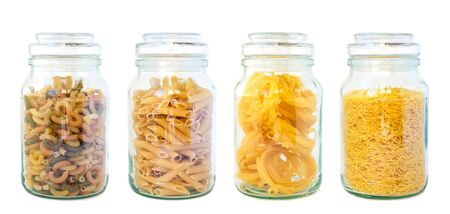glass containers: Pasta set isolated Stock Photo
