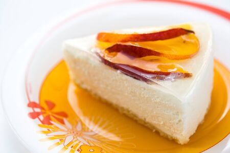 Cheesecake with peach photo