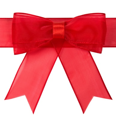 Red holiday bow isolated on the white photo