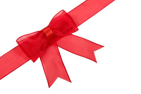 red bow: Red bow isolated on the white. Stock Photo