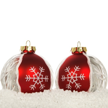 Xmas decoration on the snow on the white with copy space