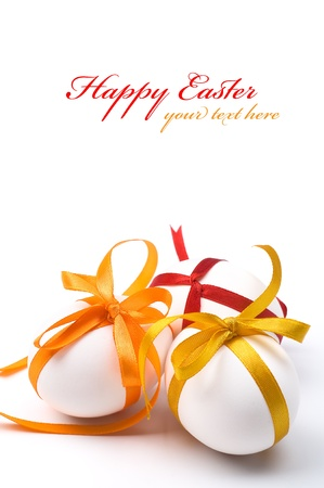 easter decorations: Easter holiday eggs with copy space
