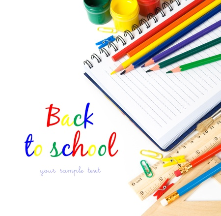School stationery on the white with copy space Stock Photo - 14657345