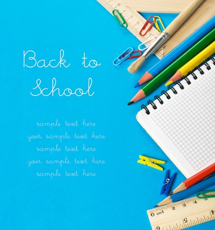 secondary schools: School stationery on the blue with copy space