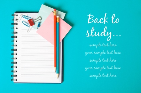 Notebook on the blue with copy space Stock Photo - 14657339