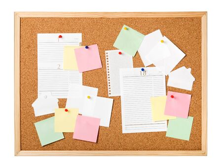 Cork board with notes isolated Stock Photo