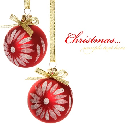 Red xmas baubles isolated on the white. photo