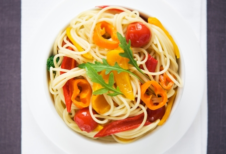 Pasta with colorful vegetables photo