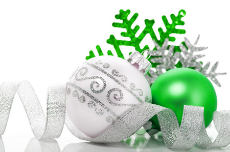 Green and silver xmas decoration Stock Photo