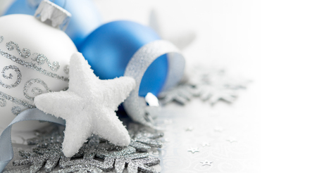 Blue and silver christmas decoration with copy space