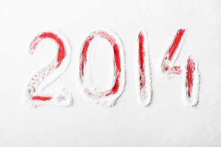 New 2014 year text on the snow Stock Photo