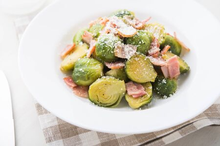 Brussels sprouts with bacon. Reklamní fotografie