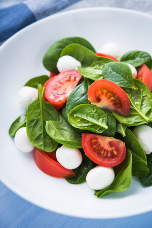 Fresh salad with mozzarella cheese, tomatoes and spinach on blue wooden background close up. Healthy food.
