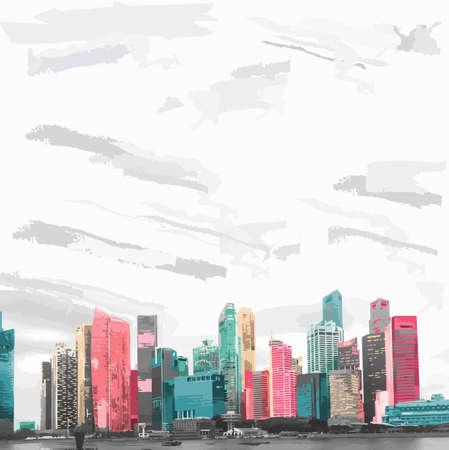 Vektorillustration der Skyline von Singapur in kühlen und romantischen Farben. Der weite Himmel dominiert die Stadt