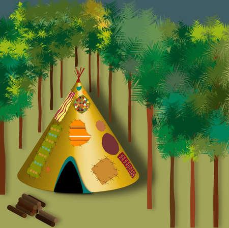 Illustrazione raffigurante il classico degli indiani indiani in un legno
