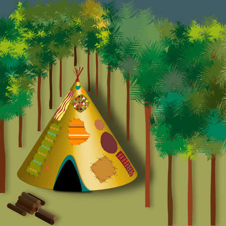 illustration depicting the classic of the American Indians in a wood