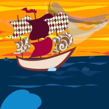 navire qui sillonne les mers. l'itinéraire est choisi, mais il y a des vents et des courants