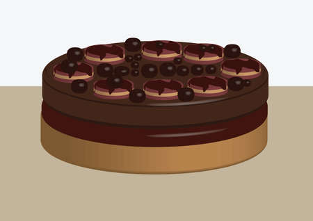 triple chocolate cake with pralines and cremini Illustration