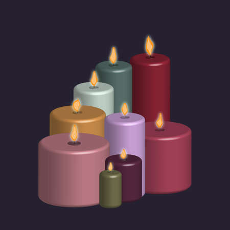suggestive group of colored candles Ilustración de vector